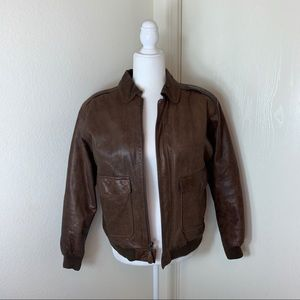 Vintage Men's Giacca Traditional Leather Bomber